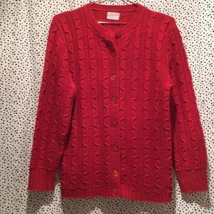 Vintage vtg USA made cable knit cardigan sweater